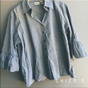 Chico's Puffy Sleeve Button Down Top